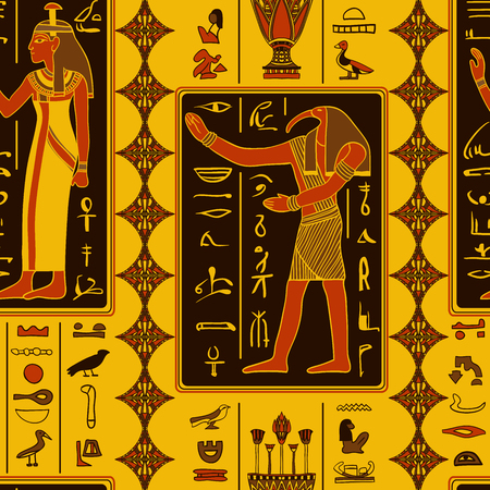 egypt anubis: Seamless pattern with egyptian gods and ancient egyptian hieroglyphs. Retro hand drawn vector illustration