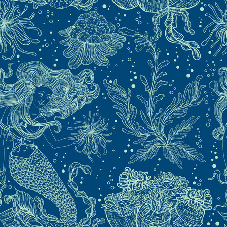 flora vector: Mermaid, marine plants, corals and seaweed. Vintage seamless pattern with hand drawn marine flora. Vector illustration in line art style.Design for summer beach, decorations.