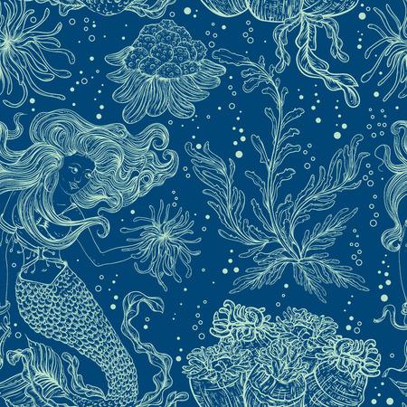 Syrenka, rośliny morskie, koralowce i wodorosty. Vintage bez szwu deseń ręcznie narysowanego flory rybackiej. Ilustracji wektorowych w stylu line.W stylu dla letniej plaży, dekoracje.
