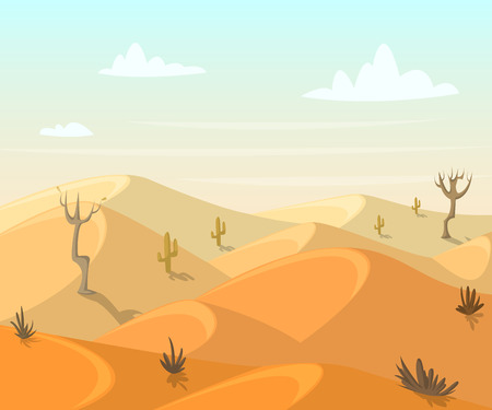 Desert landscape with cactuses and trees. illustration in cartoon style Illustration