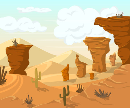 Desert landscape with cactuses and mountains. illustration in cartoon style