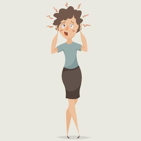 ストレスの女性。うつ病と感情に苦しんでいます。漫画のキャラクター。図  イラスト・ベクター素材