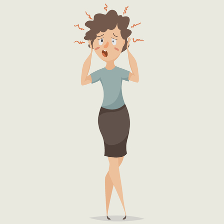 worry tension: Woman in stress. Depression and suffering emotions. Cartoon character. illustration
