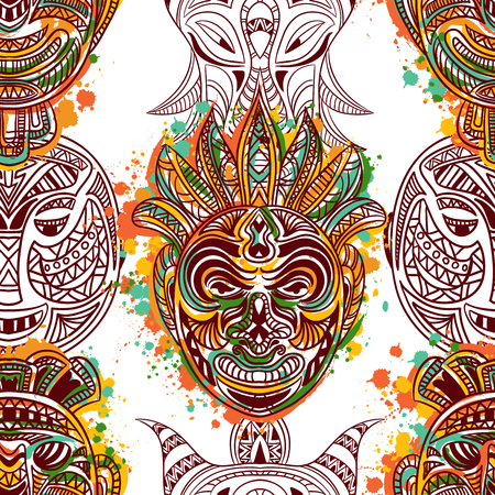 tiki head: Seamless pattern with african tribal mask with ethnic geometric ornament and splashes in watercolor style.