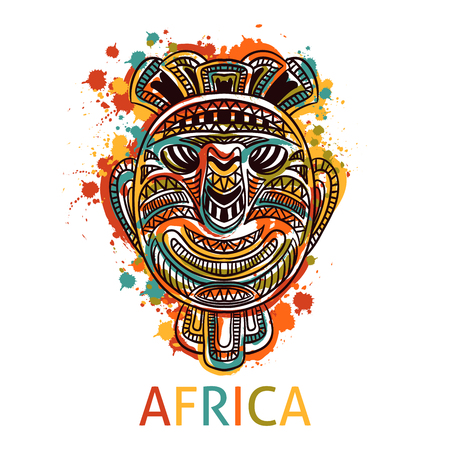 African tribal mask with ethnic geometric ornament and splashes in watercolor style.
