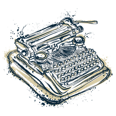 Vintage typewriter with ink splashes.