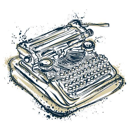 Vintage typewriter with ink splashes.