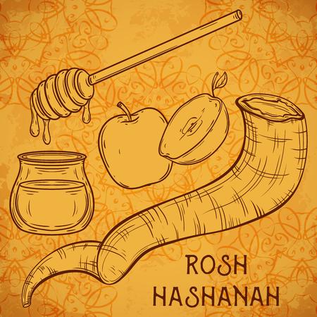ram horn: Traditional symbols of Rosh Hashanah (jewish New Year holiday). Honey, ram horn Shofar and apple on aged paper background. Concept design for Shana Tova greeting card. Vintage illustration Illustration