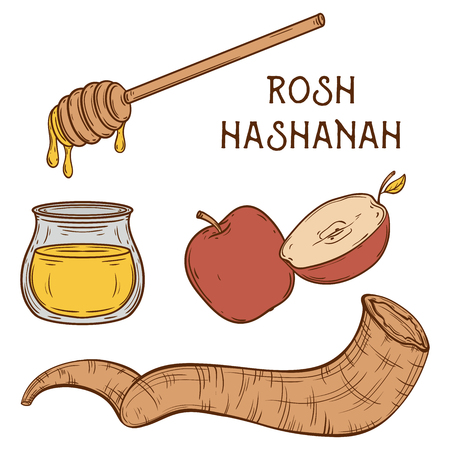 aged paper: Traditional symbols of Rosh Hashanah (jewish New Year holiday). Honey, ram horn Shofar and apple on aged paper background. Concept design for Shana Tova greeting card. Vintage illustration Illustration