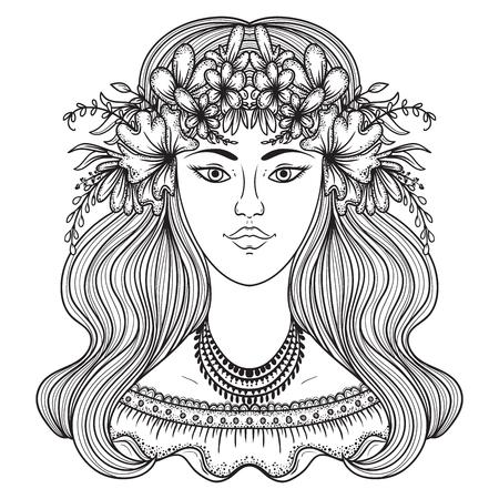 flower head: Portrait of gypsy woman with flower around head. Boho style fashion. illustration.