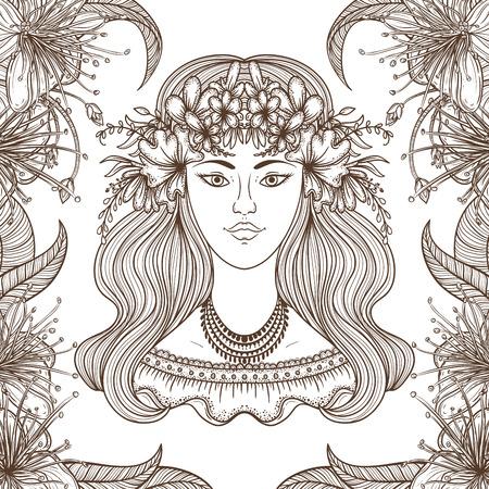 gypsy woman: Portrait of gypsy woman with flower around head. Boho style fashion. illustration.
