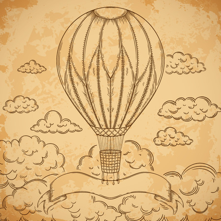 aged paper: Vintage airship with ribbon and clouds on aged paper background. Cartoon steampunk styled flying airship. Illustration