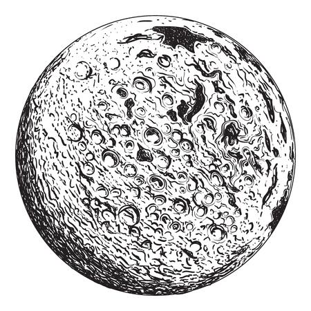 クレーターと満月の惑星。ヴィンテージ手描きイラスト