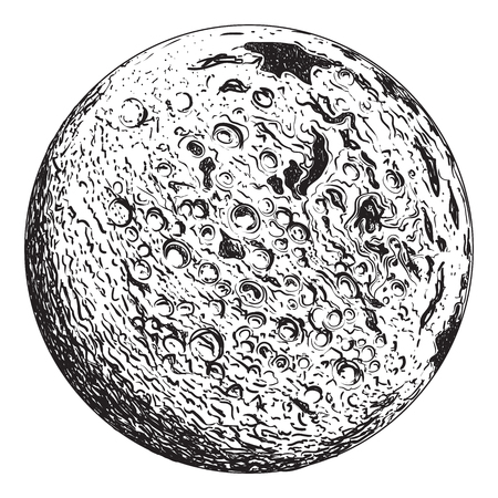 Full Moon planet with lunar craters. Vintage hand drawn illustration Ilustracja