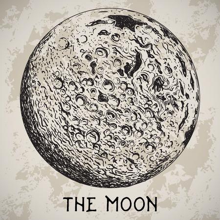 Volle maan planeet met maan kraters op grunge achtergrond.
