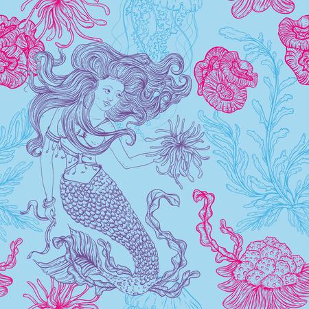 人魚、海洋植物、サンゴ、クラ ゲ、海藻。手描き下ろし海藻とビンテージのシームレスなパターン。ライン アート スタイルでの図。夏のビーチ、