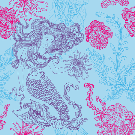 Mermaid, marine plants, corals, jellyfish and seaweed. Vintage seamless pattern with hand drawn marine flora. illustration in line art style.Design for summer beach, decorations.