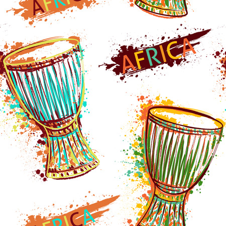 Seamless pattern with african drum tam tam and splashes in watercolor style.