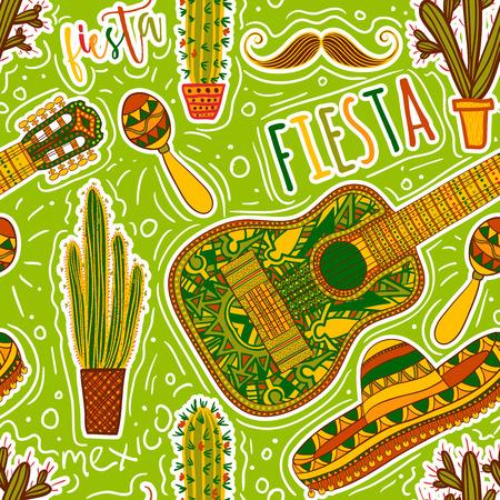 Mexicaanse Fiesta Party. Naadloos patroon met maracas, sombrero, snor, cactussen en gitaar. Ontwerp concept voor uitnodiging, kaart, t-shirt, print, poster. Stock Illustratie