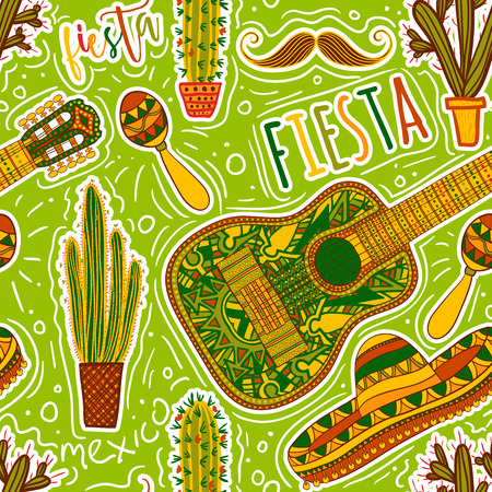 Mexican Fiesta Party. Seamless pattern with maracas, sombrero, mustache, cacti and guitar. Design concept for invitation, card, t-shirt, print, poster. Ilustracja