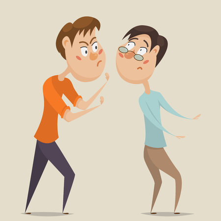 compel: Aggressive man threatening frightened man in anger. Emotional concept of aggression and violence. Cartoon characters. illustration