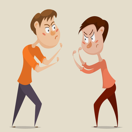 Two angry men quarrel and fight. Emotional concept of aggression and conflict. Cartoon characters. illustration
