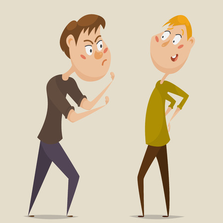 compel: Aggressive man threatening laughing man. Emotional concept of aggression and ignoring. Cartoon characters. illustration Illustration