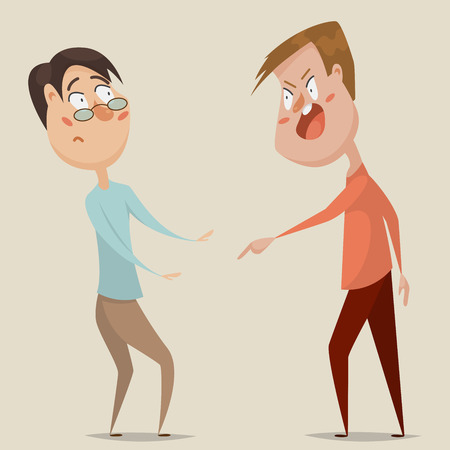 threats: Aggressive man threats and shouts on frightened man in anger. Emotional concept of aggression, tyranny and despotism. Cartoon characters. illustration