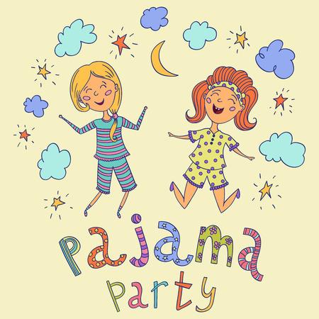 pijamada: Fiesta de pijamas. niños divertidos y letras con las estrellas, la media luna y las nubes. Personajes de caricatura. ilustración