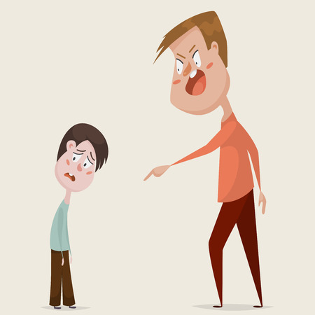 despotism: Family conflict. Aggressive man threats and shouts on oppressed boy in anger. Emotional concept of aggression, tyranny and despotism. Negative emotions. Cartoon characters. illustration Illustration