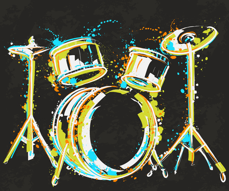 Drum kit with splashes in watercolor style.