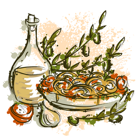italian pasta: Italian pasta with olive oil, branches, olives, tomatoes and garlic in watercolor style. Vintage  illustration in sketch style