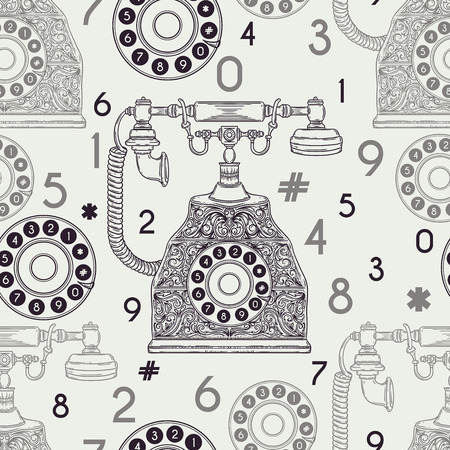 vintage phone: Seamless pattern with vintage phone and numbers.  illustration