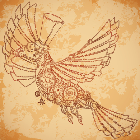 aged paper: Mechanical bird in steampunk style on aged paper background. Vintage  illustration