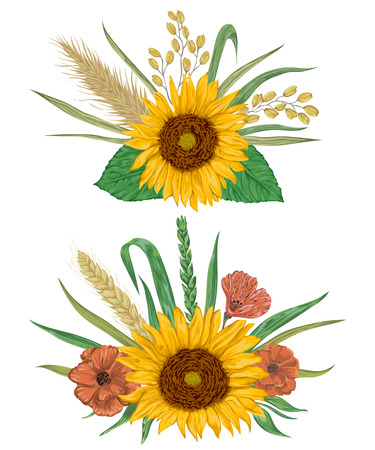 rye: Collection decorative floral design elements. Sunflower, barley, wheat, rye, rice, poppy. Isolated elements. Bouquets with cereals and flowers. Vintage vector illustration in watercolor style. Illustration