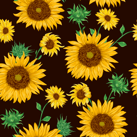 Seamless pattern with sunflowers on black background. Collection decorative floral design elements. Flowers, buds and leaf. Vintage hand drawn vector illustration in watercolor style.