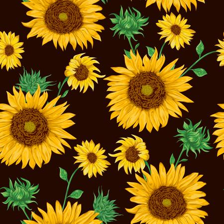 Modèle sans couture avec des tournesols sur fond noir. Éléments de design floral design décoratif. Fleurs, bourgeons et feuilles. Illustration vectorielle Vintage dessinés à la main dans un style aquarelle. Vecteurs