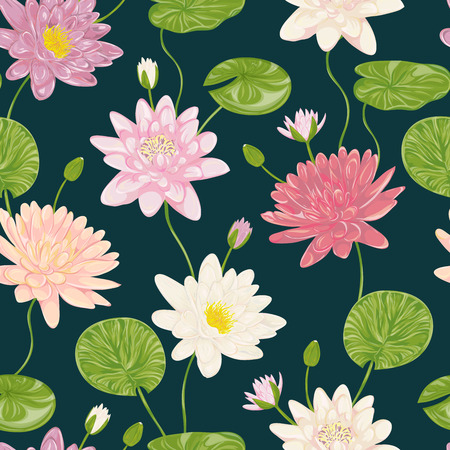 lily flowers collection: Seamless pattern with water lily. Collection decorative floral design elements. Flowers, leaves and buds. Vintage hand drawn vector illustration in watercolor style.