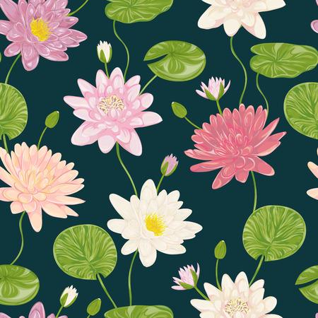 Seamless pattern con il giglio di acqua. Collezione decorativi elementi di disegno floreale. Fiori, foglie e boccioli. mano Vintage disegnato illustrazione vettoriale in stile acquerello.