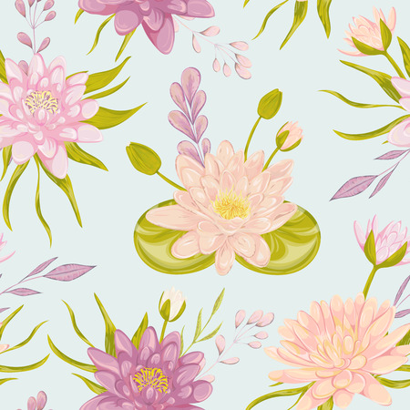 lily flowers collection: Seamless pattern with water lily. Collection floral decorative design elements. Flowers, leaves and buds. Vintage hand drawn vector illustration in watercolor style.