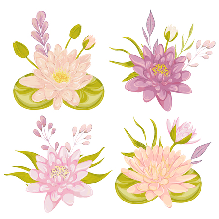 Water lily set. Collection decorative floral design elements for wedding invitations and birthday cards. Flowers, leaves and buds. Vintage hand drawn vector illustration in watercolor style. Illustration