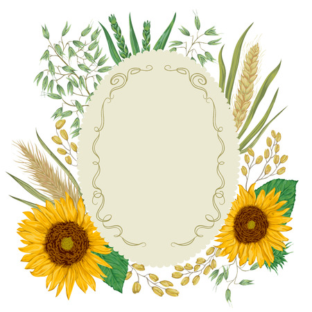 rye: Vintage label with cereals set. Sunflower, barley, wheat, rye, rice and oat. Collection decorative floral design elements. Isolated elements. Vector illustration in watercolor style.