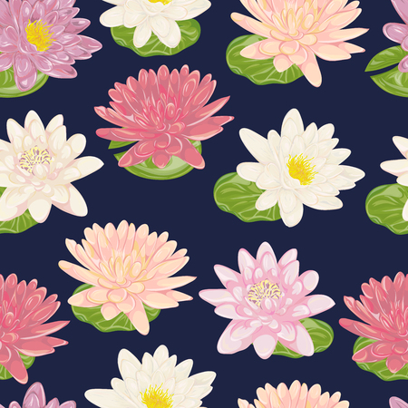 lily flowers collection: Seamless pattern with water lily. Collection decorative floral design elements. Flowers and leaves. Vintage hand drawn vector illustration in watercolor style. Illustration