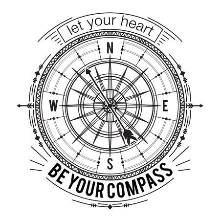 Cartel de la tipografía con el compás de la vendimia y elementos dibujados a mano. Cita inspirada. Deja que tu corazón sea tu brújula. Concepto de diseño para la camiseta, impresión, tarjeta, tatuaje. ilustración vectorial Foto de archivo - 68896603