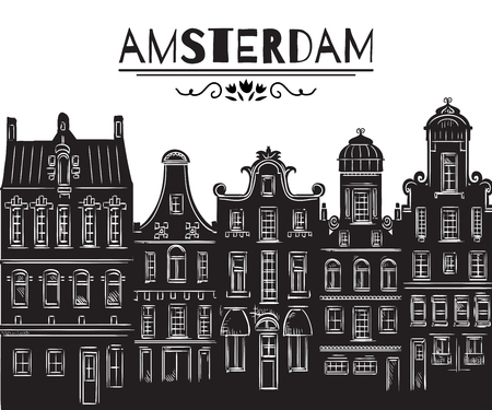 Amsterdam. Old historic buildings and traditional architecture of Netherlands. Isolated elements. Design concept for banner, card, scrap booking, print, poster. Vintage hand drawn vector illustration  イラスト・ベクター素材