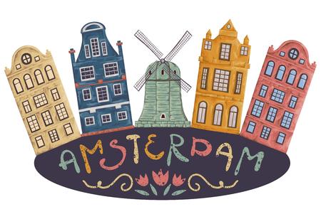 アムステルダム。古い歴史的建造物やオランダの伝統的な建築様式。風車と手が付いている家は、レタリングを描かれています。ヴィンテージ手描