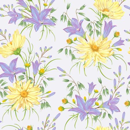 Seamless pattern con fiori di camomilla giallo, blu campanule fiori e avena. Rustico sfondo floreale. Vintage illustrazione vettoriale botanica in stile acquerello.