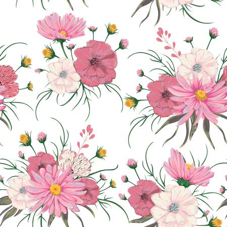 カモミールとケシの花とのシームレスなパターン。結婚式の招待状や誕生日カードの素朴な花のデザイン。ビンテージ ベクトル植物水彩風イラスト