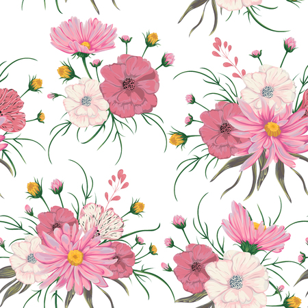 Seamless pattern with chamomile and poppy flowers. Rustic floral design for wedding invitations and birthday cards. Vintage vector botanical illustration in watercolor style.