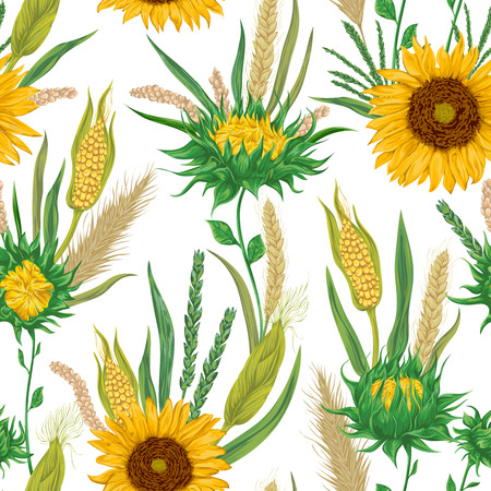 Seamless pattern with cereals and sunflowers. Barley, wheat, rye, corn and millet. Rustic floral background. Vintage vector botanical illustration in watercolor style.